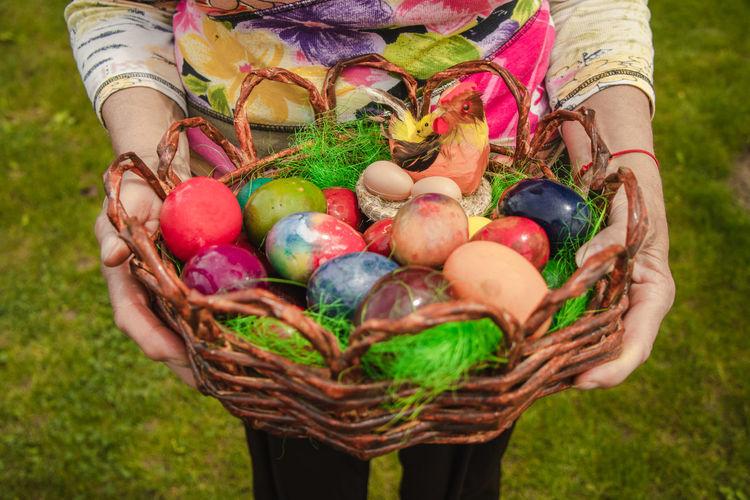 Full frame shot of multi colored eggs in basket