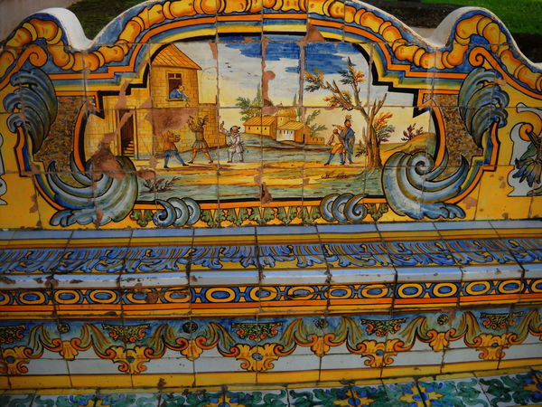 Bench Ceramics Close-up Day Decorated Italy Monastero Santa Chiara Multicolored Napoli No People October 2016 Outdoors