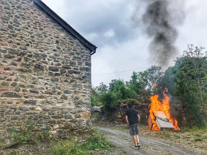 Making Space Burning Rubbish Clearing A Walkway Cleaning Up! Men Built Structure Real People Sky Architecture Nature Burning