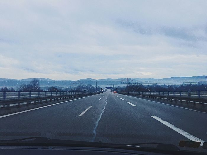 Personal perspective of highway while driving