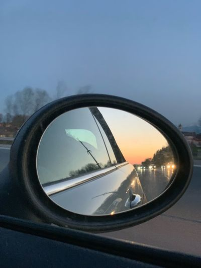 Car Transportation Motor Vehicle Mode Of Transportation Side-view Mirror Sky Reflection