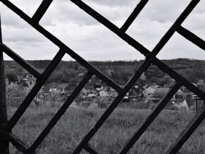 Long Goodbye Country View Fence Gate Oldgate Metalwork Blackandwhite Monochrome Border Hillview
