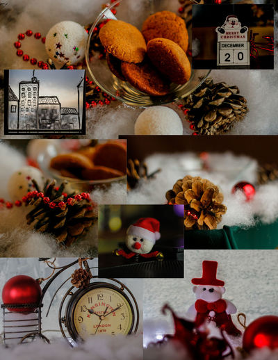 #Christmas #Newyear #photocollage Close-up Day Flower Food Food And Drink Freshness Fruit High Angle View Indoors  No People Plate Sweet Food Table Variation