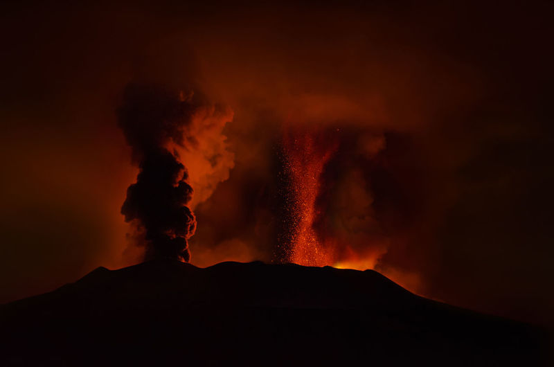 Etna - paroxysm at south east crater on 20 february 2021.