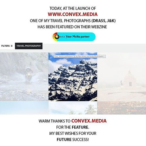 ~~~~~~~~~~~~~~~~~~~~~~~~~~~~~~~~~~~~ I'M THRILLED TO SHARE THE NEWS WITH YOU THAT A TRAVEL PHOTOGRAPH OF MINE HAS BEEN FEATURED ON @convex.media 's WEBZINE (www.convex.media) 😊🙋 ~~~~~~~~~~~~~~~~~~~~~~~~~~~~~~~~~~~~ Tag your photographs with Convexrevolution to get featured. ~~~~~~~~~~~~~~~~~~~~~~~~~~~~~~~~~~~~ Check out my gallery @winks_and_smiles ~~~~~~~~~~~~~~~~~~~~~~~~~~~~~~~~~~~~ THANK YOU CONVEX MEDIA ~~~~~~~~~~~~~~~~~~~~~~~~~~~~~~~~~~~~ Convexrevolution @convex.media Travelphotograph Travelphotography Feature Maharashtra_ig Webzine Travel Drass Jammukashmir Webzinelaunch Website