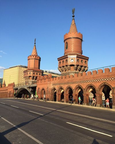Oberbaumbruecke against clear blue sky on sunny day
