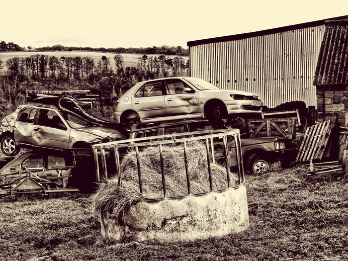 Abandoned Outdoors Cars No People Day Farm Yard Junk