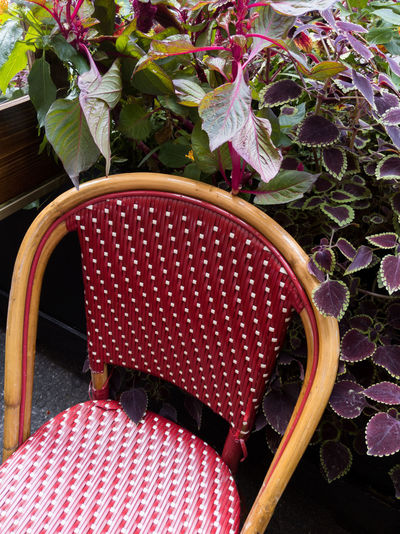 Close-up of empty chair on table
