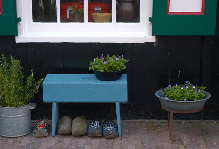 Bench Blue Dutch Flower Pot Freshness Homedecor House House And Window Plant Potted Plant The Netherlands Window Wooden Shoes