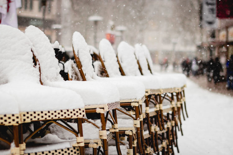 Panoramic view of snow covered seat