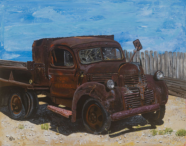 """Old Florence"" Land Vehicle Rusty Abandoned Stationary Outdoors Sky Day Painting Acrylics Truck EyeEmNewHere"