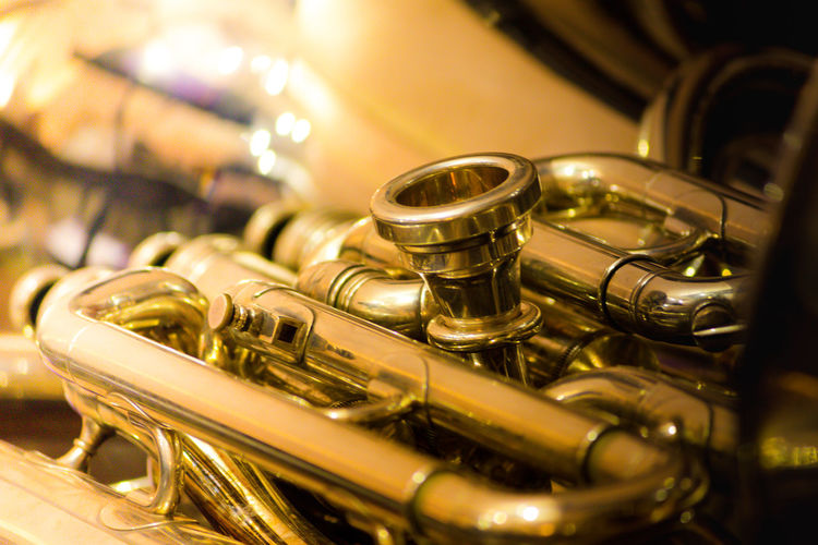 Arts Culture And Entertainment Brass Instruments Classical Music Close-up Day Gold Colored Indoors  Metal Music Musical Instrument No People Shiny Trumpet Wind Instrument