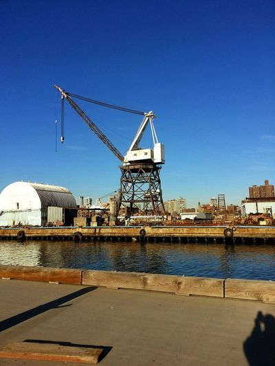 Brooklyn Navy Yard Old Structures Crane Early Morning Historical Land Mark Beautiful Day For Photography Williamsburg Brooklyn /New York background