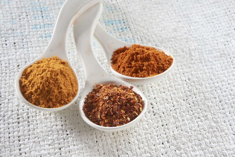Close-up of various grounded spices in spoon on burlap