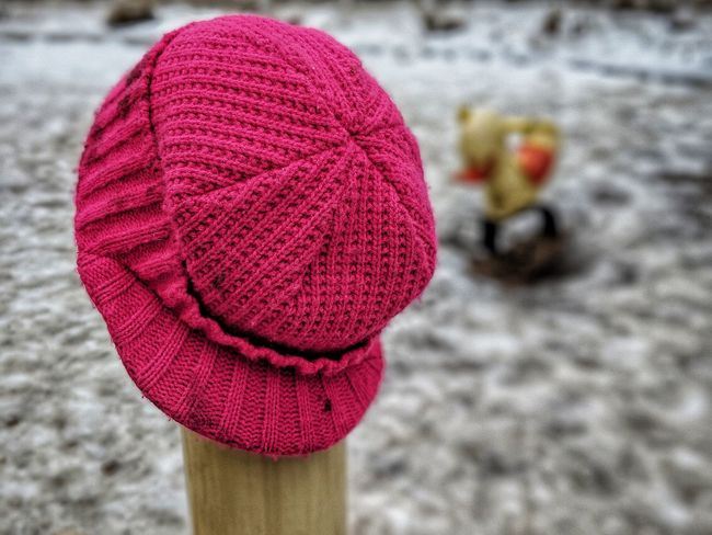 Playground Hat Warm Clothing Red Wool Close-up Woolen Crochet Handmade Knitting Fabric Christmas Decoration Woven
