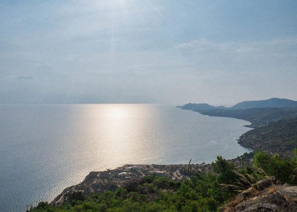 Mountain View Beauty In Nature Greece Horizon Over Water Landscape Nature Outdoors Scenics Setting Sun Aegean Sea Sky Water Ellas Lost In The Landscape Ellada