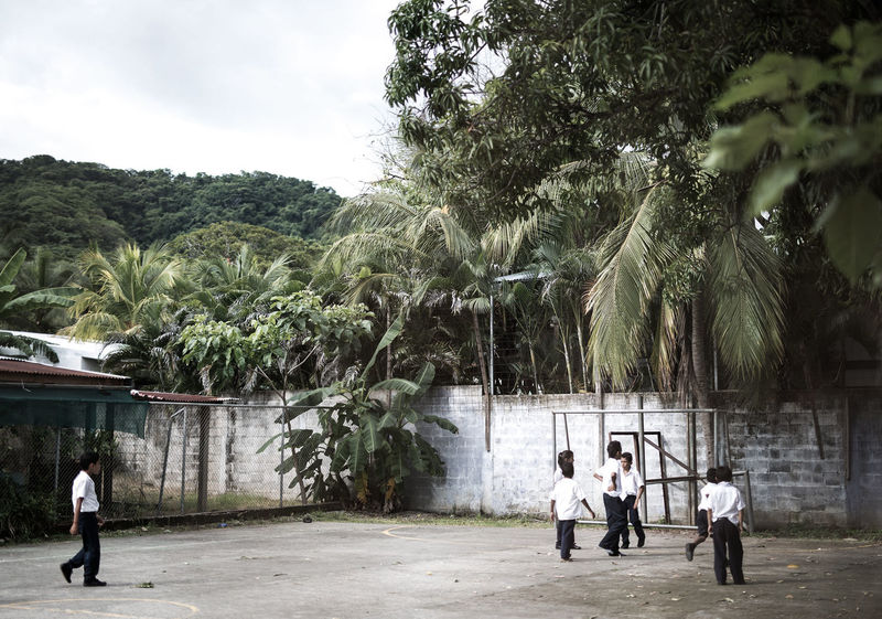 Schoolyard Adult Boys Children Playing Day Full Length Growth Medium Group Of People Men Outdoors Palm Tree People Real People Sky Togetherness Tree Walking Sports In Action