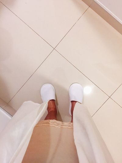 Going To Sleep Home Close-up Confused Day Evening Finally Home Home Clothes Hotel Shoes Human Body Part Human Leg Indoors  Low Section Men Night One Person People Real People Relaxed At Home Shoe Standing Tile White Slippers Women
