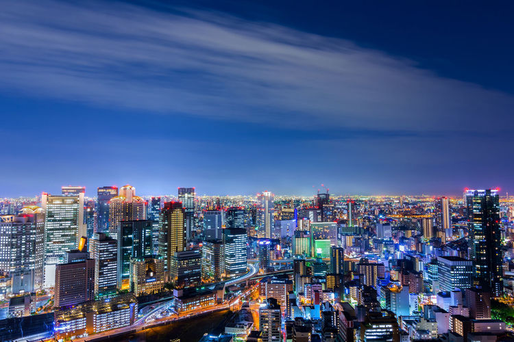 Aerial night view of Beautiful Osaka cityscape. BBeautiful Architecture CCity CCityscape CCloud DDowntown JJapan OOsaka,Japan PPanorama RRoad SSky And Clouds TTravel bBuilding dDistrict lLandmark lLandscape mMetropolis nNight sSky sSpace tTourism uUmeda uUmeda Sky Building uUrban