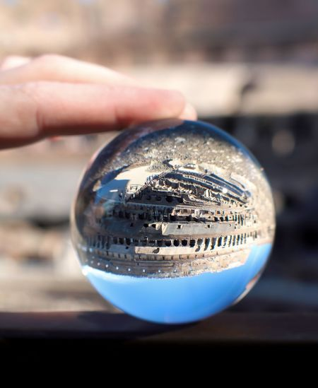 Rom Roma Rome Travel Photography Travelling Ball Citytrip Close-up Crystal Ball Day Finger Focus On Foreground Glass - Material Holding Human Hand One Person Outdoors Photography Photographylovers Reflection Sphere Transparent Unrecognizable Person Upside Down
