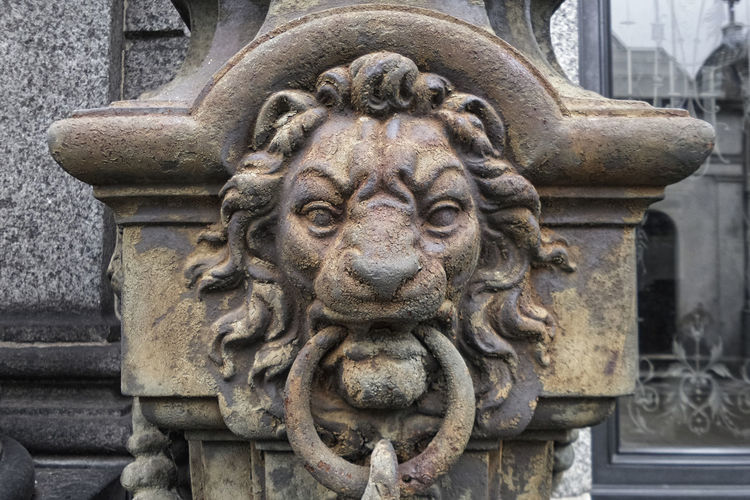 That old rusty lion... Art Close-up Focus On Foreground No People Old Ornate Recoleta Cemetery Sculpture Statue Stone Material The Past Travel Travel Destinations