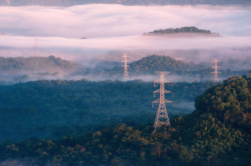 Transmission tower in green forest and beautiful morning fog. energy and environment concept.