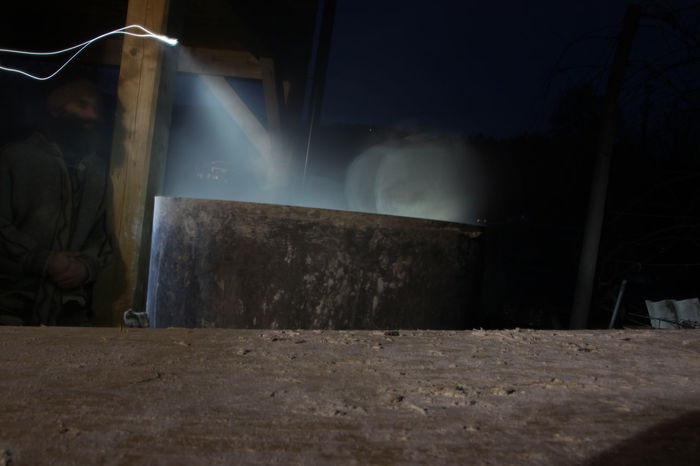 Mixing hemp&lime at nighttime Night Hempcrete Hemp And Lime Natural Building Sustainability