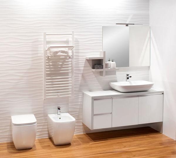 Interior Of Illuminated Bathroom