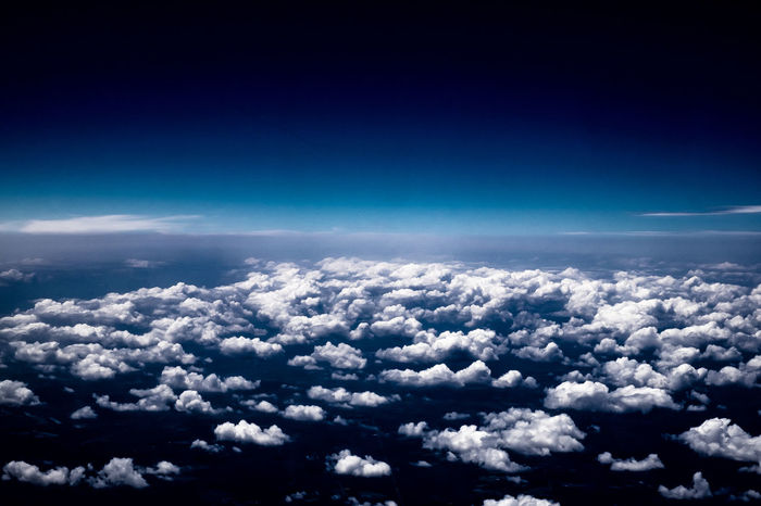 High Altitude Photography Aerial View Beauty In Nature Blue Blue Blue Sky Cloud - Sky Cloudscape Day Flight ✈ Flying High Altitude Nature No People Outdoors Scenics Sky Sky Only The Natural World Tranquil Scene Tranquility