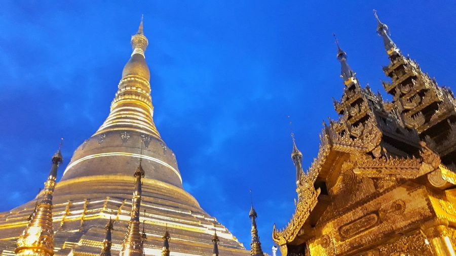 Shwedagon Pagoda Religion Pagoda Spirituality Architecture Gold Gold Colored Shrine Travel History Travel Destinations Arrival Place Of Worship Beauty Blue Ancient Night No People Sky Outdoors Shwedagon Pagoda Myanmar