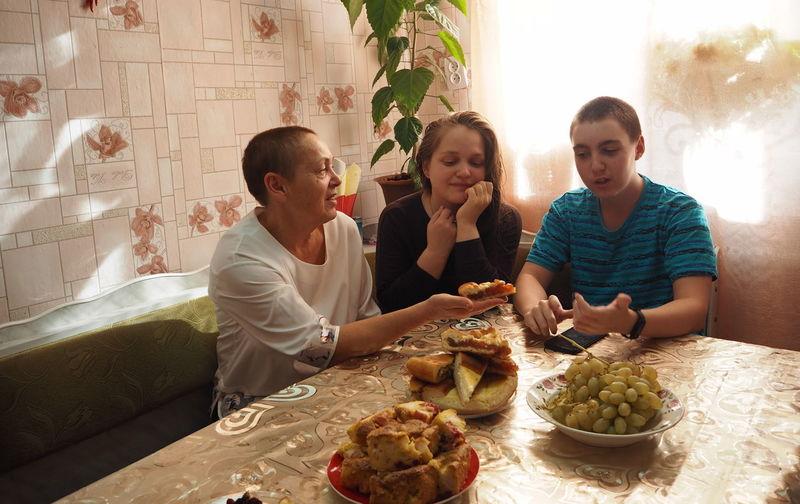 People sitting on table
