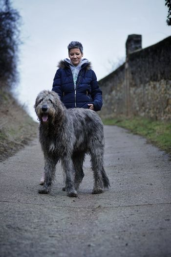 Full Length Of A Woman And Irish Wolfhound