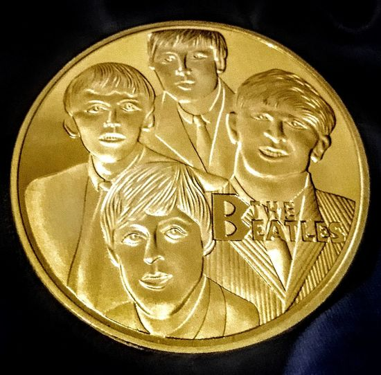 Familiar Faces Music It's Been A Hard Days Night Faces Face Famous Coins Coins Collection Collectables Collectable Merchandise Collectable Collectable Items Check This Out Taking Photos The Fab Four 4 People Four People Golden Gold Colored Gold Gold Coins Thebeatles The Beatles Black Background Coin Close-up Western Script Male Likeness Human Representation Text