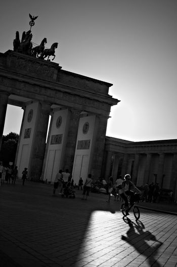 I Want to Ride my bicycle Architecture Berlin Nature City Sky Silhouette Germany Travel Bicycle History Gegenlicht Outdoors Brandenburger Tor Monochrome Clear Sky Brandenburg Gate Travel Destinations Building Exterior Built Structure Umweltschutz Emission Free Streetphotography
