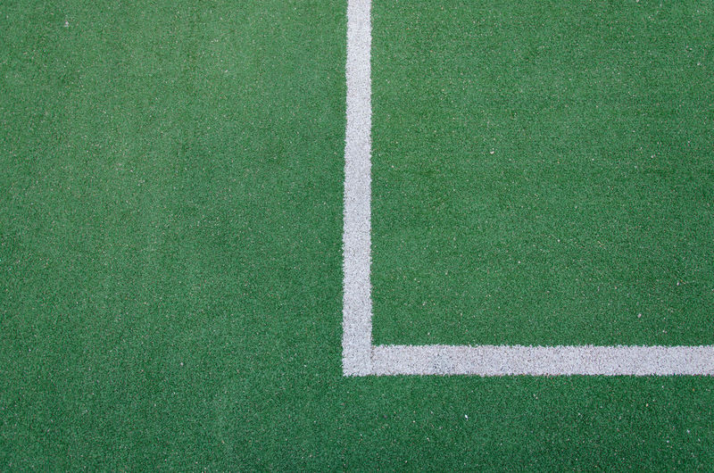 High angle view of yard line on playing field