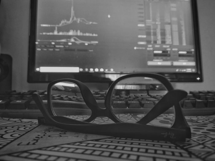See all the possibilities than make your trade Blackandwhite Eyeglasses  Binance Trading Cryptocurrency Glasses PC Keyboard Investment No People Night Indoors  Close-up Indoors  Eyewear Eyesight