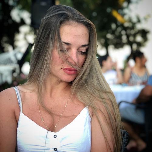 Close-up of thoughtful beautiful woman