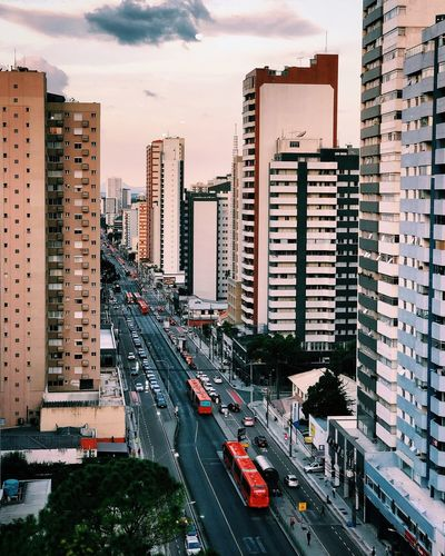 Curitiba/Brazil City Building Exterior Architecture Built Structure Car Mode Of Transportation Motor Vehicle Transportation Street Road Building City Street Sky High Angle View Day Tall - High Office Building Exterior Cityscape Land Vehicle City Life