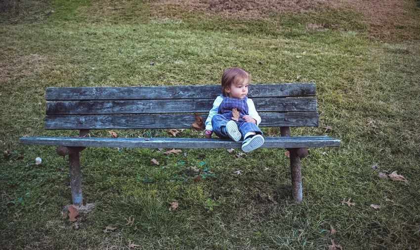 My grandson, Avery. He's my everything! Happiness Beautiful Day My Love Beautiful Baby My Happiness My Everything I LOVE HIM♥ My Grandson Eyeem Friends Tadaa Friends Tadaa Community Bench Childhood Relaxation Outdoors Nature One Person