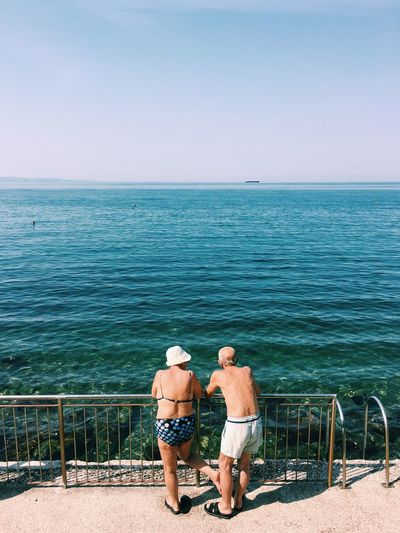 Love Sea Horizon Over Water Rear View Two People Outdoors Togetherness Men Blue Standing Love