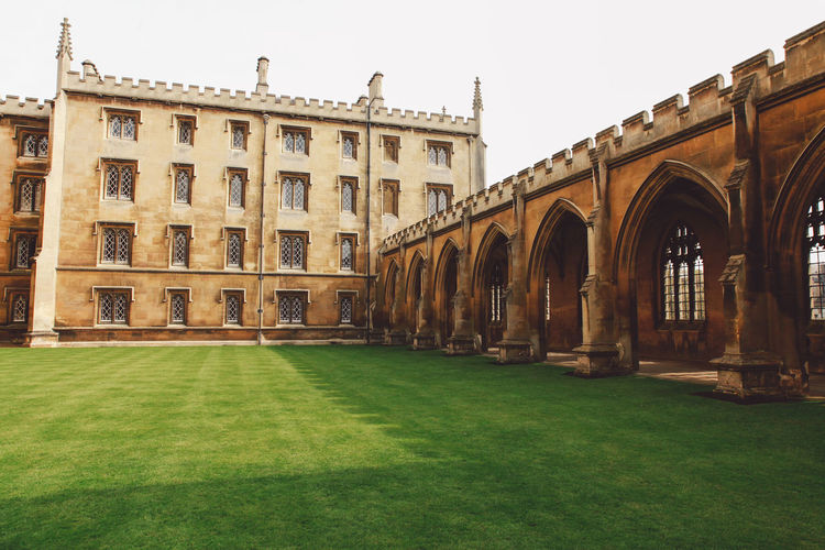 Lawn at cambridge university in city