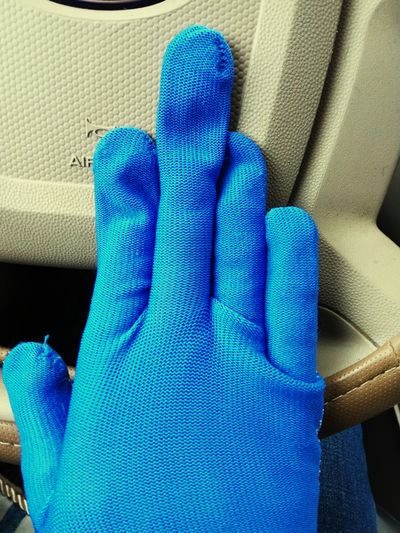 Blue Textile Protective Glove Human Body Part Middle Finger Human Hand Gloves No To Violence! No To Bad Attitude