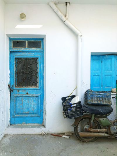Closed door of abandoned house
