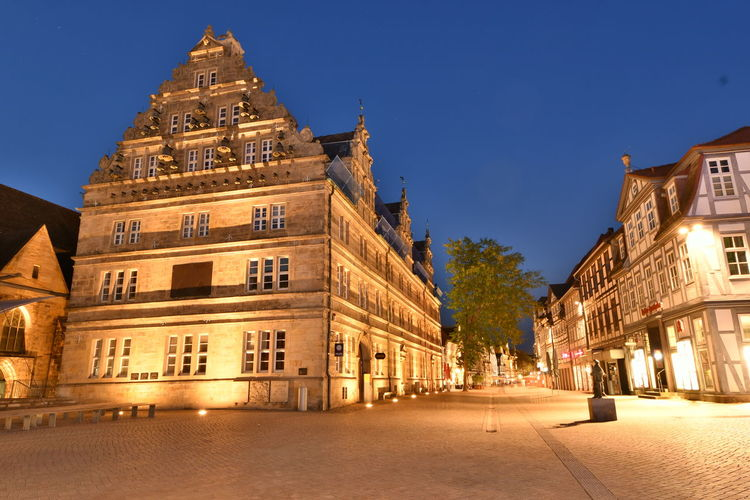 Nachts in Hameln Altstadt Hameln Weserrenaissance Architecture Blue Building Building Exterior Built Structure Bulb City Clear Sky Dusk Fußgängerzone History Illuminated Nature Night No People Outdoors Sky Street The Past Town Travel Destinations Window It's About The Journey