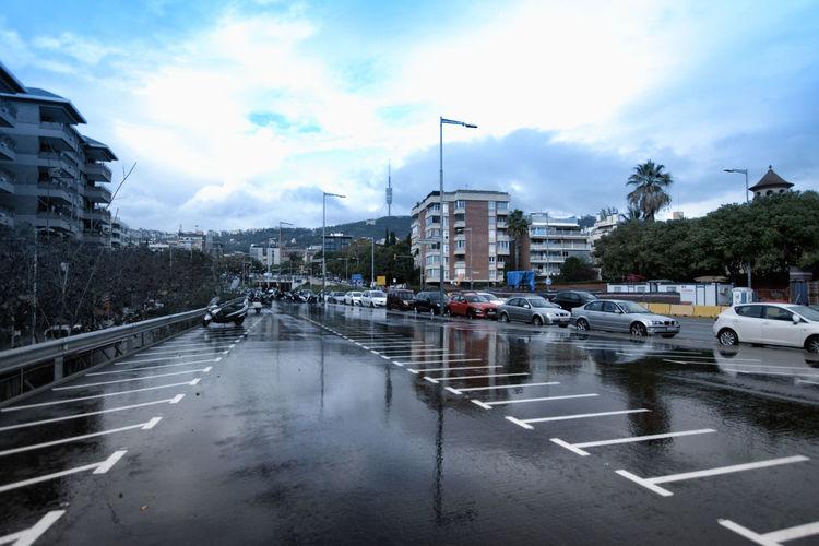 Wet city street during rainy season