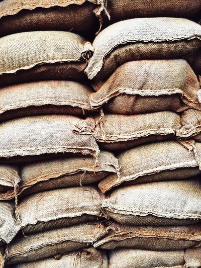 Backgrounds Full Frame Folded Textile Crumpled No People Stack Indoors  Close-up Day Sandbags