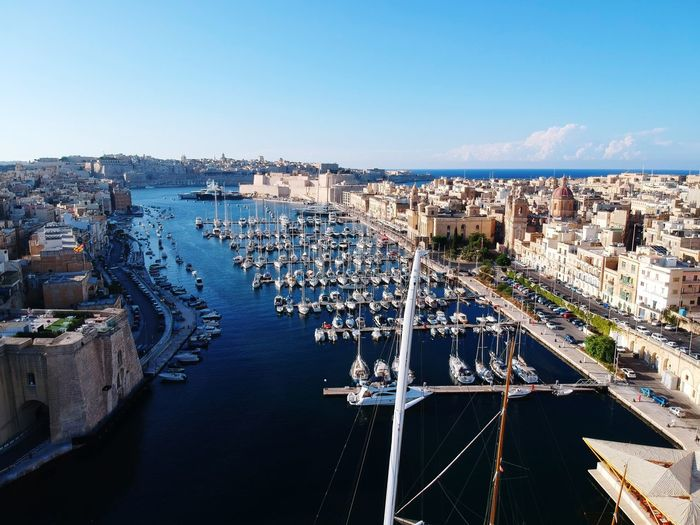 Malta summer holidays harbour boat drone foto Malta summer boat water harbour beautiful Beach Malta Drone  Drone Shot Summer Holiday Drone Summer Harbour Church History Turism See Old City Cityscape Water Nautical Vessel Sea Sky Architecture Old Town Harbor Marina Sailboat Yacht Port Moored Sailing Boat Water Vehicle