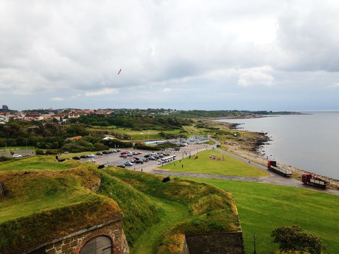 High angle view of landscape from varberg fortress against cloudy sky