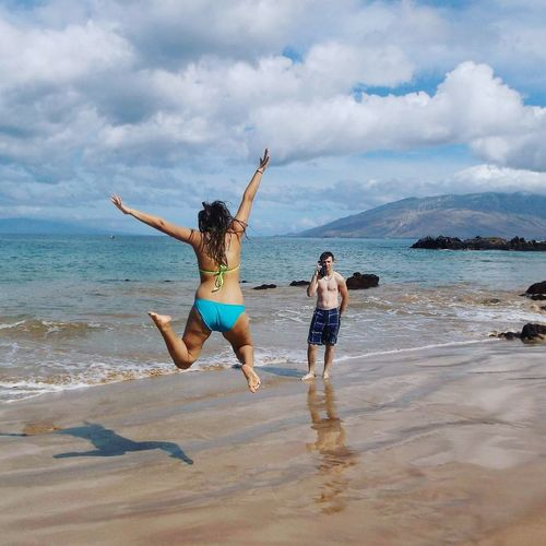 Check This Out Hello World Having A Good Time Waves Hawaii Maui Beach Photography Beach Sand & Sea Sibling Fun Surf's Up Blue Skies Sandy Beaches Jumping Shot Sea And Sky Need Sun Bikinis Long Goodbye Amateurphotography Done That. Connected By Travel Visual Creativity