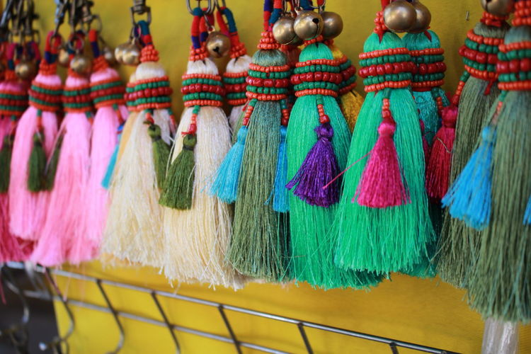 Tassels hanging in market for sale